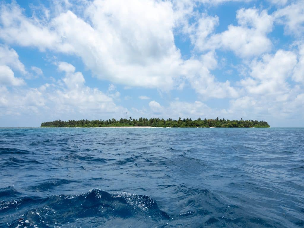 Vaadhoo Island shot from the ocean